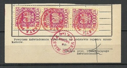 POLEN Poland Ca 1973 Documentary Tax Oplata Stempelmarken On Out Cut + Interesting Cancels - Fiscaux