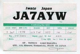 QSL RADIO AMATEUR CARD 1990 JA7AYW IWATE JAPAN D46 - Radio Amateur