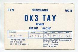 QSL RADIO AMATEUR CARD 1991 OK3TAY PRAHA CZECHOSLOVAKIA D49 - Radio Amateur