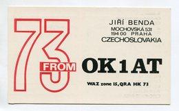 QSL RADIO AMATEUR CARD 1990 OK1AT PRAHA CZECHOSLOVAKIA D50 - Radio Amateur