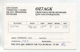 QSL RADIO AMATEUR CARD 1990 OZ7AGK SONDERSO DENMARK D53 - Radio Amateur