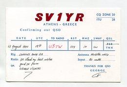 QSL RADIO AMATEUR CARD 1990 SV1YR ATHENS GREECE D54 - Radio Amateur