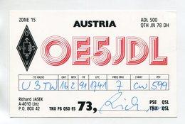 QSL RADIO AMATEUR CARD 1991 OE5JDL AUSTRIA D56 - Radio Amateur