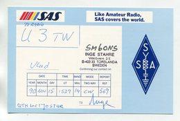 QSL RADIO AMATEUR CARD 1990 SM6ONS SWEDEN SAS AIRLINES D58 - Radio Amateur