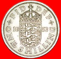 + ENGLISH CREST 1+A: UNITED KINGDOM ★ 1 SHILLING 1953! LOW START ★ NO RESERVE! - 1902-1971 :  Post-Victoriaanse Muntstukken