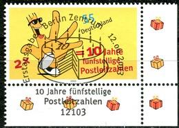 A13-34-2) BRD - Mi 2344 ECKE REU - Zentrisch OO Gestempelt (B) - 55C  10 Jahre Fünfstellige Postleitzahlen - Usados