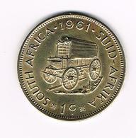 //  ZUID AFRIKA  1 CENT HUIFKAR 1961 - Afrique Du Sud