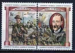 St.Vincent 1984 Pair Of 1c Stamps From The Monarchs Set Overprinted Specimen. - St.Vincent (1979-...)