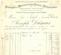 Facture De La Fabrique De Mousselines Dumas à Tarare, 1911, Plumetis Pour Lacombe à Montauban - France