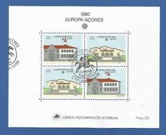 Portugal / Azoren 1990 Mi.Nr. Block 11 (409 / 410 ) , Europa CEPT Postalische Einrichtungen - Gestempelt / Used / (o) - Europa-CEPT