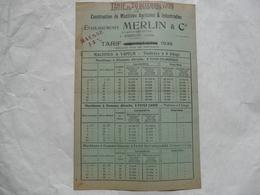 VIEUX PAPIERS 18 CHER - VIERZON : TARIFS Au 20 Décembre 1936 Des Machines Agricoles Et Industrielles - ETS MERLIN - Advertising