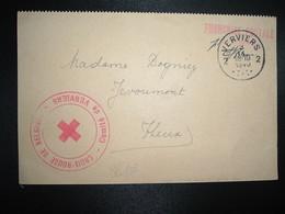 CP OBL.3 IX 1940 VERVIERS 2 + Cachet Rouge CROIX-ROUGE DE BELGIQUE Comité De VERVIERS - WW II