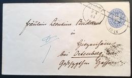 """Preussen """"SIEGEN 1864"""" (Westfalen, Arnsberg) Ganzsache U27Aa > Ortenberg (Nidda, Hessen) Thurn Und Taxis (Brief Cover - Preussen (Prussia)"""
