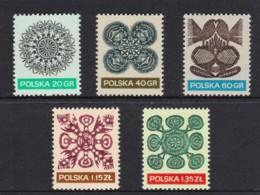 Poland 1971 Folk Art Patterns Set Of 5 MNH - 1944-.... Republic