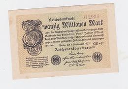 Billet De 20 Millions Mark  De  1-9-1923  Pick 108  Neuf Uniface - [ 3] 1918-1933 : République De Weimar