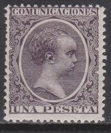 1889 ALFONSO XIII PELÓN 1 PTS*. VER. 62 € - Unused Stamps