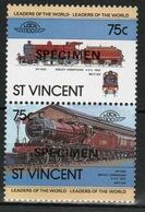 St.Vincent 1983 Pair Of Set Stamps From The Locomotive Set Overprinted Specimen. - St.Vincent (1979-...)