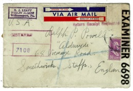 Ref 1307 - WWII 1943 Censored Airmail USA Cover From Violin Maker To Smethwick UK - Music Theme - United States