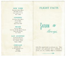 Ref 1307 - 1965 USA Saturn Airways Flight Facts Card - Aviation - Airline Ceased Trading 1976 - World