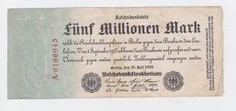 Billet De 5 Million Mark Du 25-7-1923 Uniface   Pick 95 - [ 3] 1918-1933 : République De Weimar