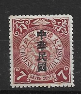 1912 CHINA CIP 7c IMPERIAL COILING DRAGON ROC O/P MNH OG CHAN 158 $14 - Chine