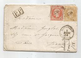 "- BFE EGYPTE - ALEXANDRIE - PC.3704 S/N°13 Citron + N°16 - Càd Type 15 - + ""P.P."" - 1858 - Lettres & Documents"