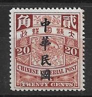 1912 CHINA CIP 20c IMPERIAL CARP ROC O/P MINH CHAN 178 - Chine