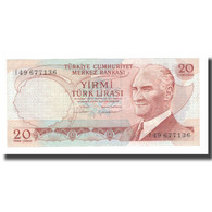 Billet, Turquie, 20 Lira, L.1970, KM:187b, SPL - Turquie