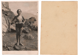 1936 Original 12x8 Old Photo Photography Teenager Girl Half Naked NU Pin Up Child Pants Beach Russia USSR (6462) - Pin-ups