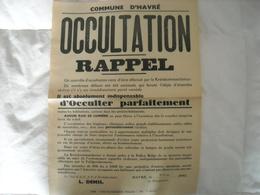Affiche Communale (authentique)  Havré 1942 (occultation Des Bâtiments) - 1939-45