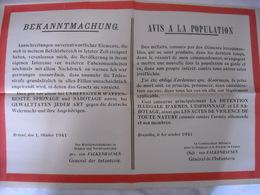 Affiche Authentique 1941 Autorité Allemande (Gl Von Falkenhausen) Méfaits Contre Occupant - 1939-45