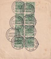 ALLEMAGNE  1899  FRAGMENT AVEC TIMBRES OBLITRATION DRESDEN - Used Stamps
