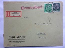 GERMANY 1941 Registered Berlin Lichterfelde Cover Sent To Fleurier Switzerland Censor Tape And Marks - Germany