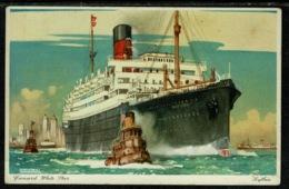 "Ref 1308 - Kenneth Shoesmith Shipping Postcard - Cunard White Star Line ""Scythia"" Ship - Steamers"