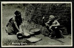 Ref 1308 - 1936 Ethnic Real Photo Zulu Postcard - Morning Gossip - South Africa - Africa