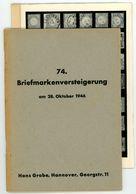 74 Grobe Auktion 1946 - Früher Nachkriegskatalog Mit Den Bildtafeln - Catalogi Van Veilinghuizen