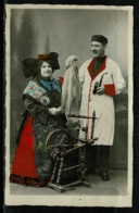 Ref 1308 - Early Ethnic Postcard Woman & Spinning Wheel With Man & Pipe - Eastern European - Europe