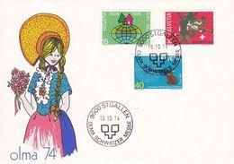Schweiz Suisse 1974: Zu 548-550 Mi 1000-1002 Yv 947-949 Mit O ST.GALLEN 10.10.74 OLMA SCHWEIZER MESSE (Zu CHF 1.30) - Costumes