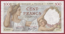 "100 Francs ""Sully"" Du 04/09/1941.AZ --VF/SUP---ALPH X.24000 ---AUCUN TROU D EPINGLE - 1871-1952 Circulated During XXth"