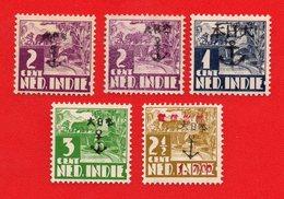 Lot Of 5 Stamp Nederlands Indie Dutch Indies Japanse  Occupation. Ovpt. Mint - Indonesien