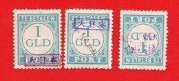 Lot Of 3 Nederlands Indie Dutch Indies Japanse  Occupation. Ovpt. Mint - Indonesia