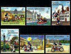 Grenada 1989 Disney Mickey PHILEX France PARIS Philatelic Exhibitions Cartoon Animation Flag Stamps (2) MNH Sc 1057-1062 - Grenada (1974-...)