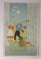Herbst, Kinder, Blätter, Pilze, Netz, Schmetterlinge,  1908 ♥  - Enfants
