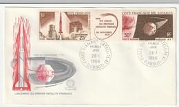 FDC - Cote Des Somalis - 1966 - Lancement Du Premier Satellite Français - Lettres & Documents