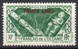 !!! PRIX FIXE : OCEANIE, FRANCE LIBRE N°148 SURCH ROUGE PARTIELLE AU DOS NEUF * - Océanie (Établissement De L') (1892-1958)