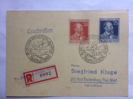 GERMANY Allied Occupation 1947 Postcard Registered Dresden To Bad Blankenburg With Dresden Bad Weisser Sonderstempels - American,British And Russian Zone