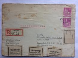 GERMANY Allied Occupation Registered Erlangen Cover To Berlin Damaged And Resealed - Klebestreifen Vorgesunden Cachet - American,British And Russian Zone