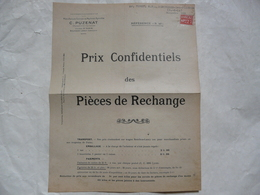 VIEUX PAPIERS - SAONE ETLOIRE : C. PUZENAT - Prix Confidentiels Des Pièces De Rechange - Publicités