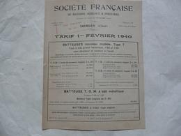 VIEUX PAPIERS 18 CHER - VIERZON : Société Française De Matériel Agricole Et Industriel - Tarif 1er Février 1940 - Publicités