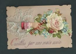 Superbe Mignonnette Avec Collage Et Relief, Dentelle Au Crochet. Souvenir De Bonne Année Pour 1895. Envoyée De Liège - Vieux Papiers